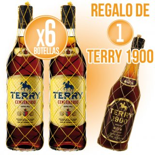 6 BOTELLAS CENTENARIO TERRY 1LT + REGALO DE 1 BOTELLA TERRY 1900 70CL