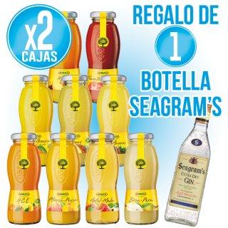 2 CAIXES SUCS RAUCH TOTS ELS SABORS (24U) + REGAL DE 1 BOT GIN SEAGRAMS 70CL
