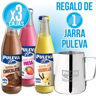 3 CAIXES PULEVA VIDRE SABORS + REGAL DE 1 JERRA LLET PULEVA