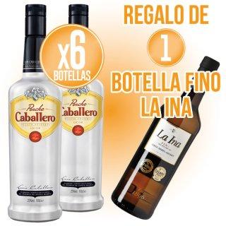 6 BOTELLES PONCHE CABALLERO 1LT + REGAL DE 1 BOT FINO LA INA 3/4