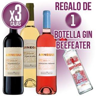3 CAIXES ARNEGUI COLLITA + REGAL DE 1 BOT GIN BEEFEATER 70CL