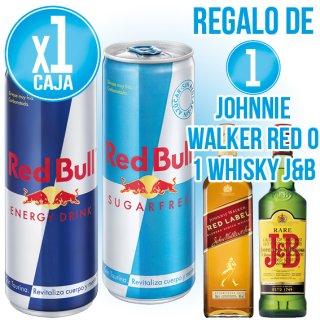 1 CAIXA RED BULL O RED BULL SUGAR FREE 24U + REGAL DE 1 BOT WHISKY JB O WHISKY JOHNNIE WALKER ER