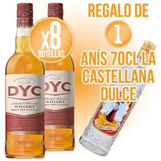 8 BOT WHISKY DYC 5 ANYS 1LT + REGAL DE 1 BOT ANIS CASTELLANA DOLÇ 70 CL