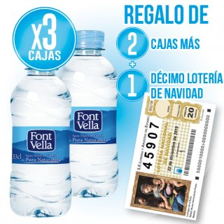 3 CAIXES FONT VELLA 33CL (35U) + 2 DE REGAL + REGAL DE 1 DÈCIM DE NADAL