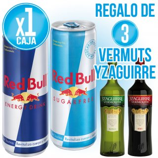 1 CAIXA RED BULL O SUGAR FREE + REGAL DE 3 BOT VERMOUTH YZAGUIRRE