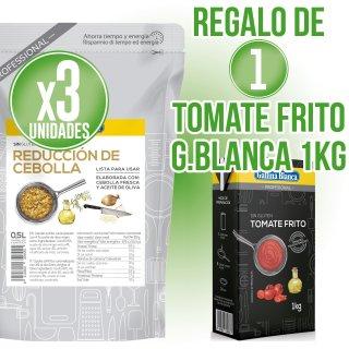 3 UNIDADES REDUCCIÓN CEBOLLA GALLINA BLANCA 500GR REGALO DE 1 BRICK TOMATE FRITO GALLINA BLANCA 1LT