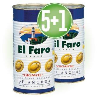 5 LATAS ACEITUNAS RELLENAS FARO 2KG + 1 DE REGALO