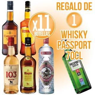 11 BOTELLAS SELECCIÓN OSBORNE REGALO DE 1 BOTELLA WHISKY PASSPORT 70CL
