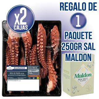 2 CAJAS PULPO PATA GORDA AGUINAMAR 1,5KG REGALO DE 1 PAQUETE SAL MALDON 250GR