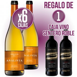 6 CAIXES ANALIVIA BLANC VERDEJO 75CL REGAL DE 1 CAIXA SENTERO ROBLE 75CL