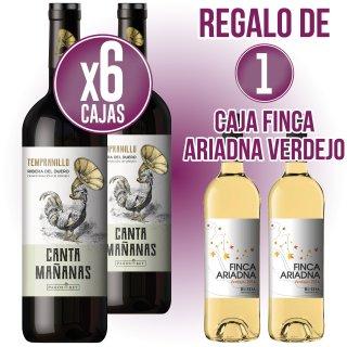 6 CAIXES CANTAMAÑANAS NEGRE TEMPRANILLO 75CL REGAL 1 CAIXA FINCA ARIADNA VERDEJO 75CL