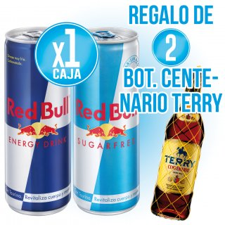 1 CAIXA RED BULL O RED BULL SUGAR FREE + REGAL DE 2 BOT CENTENARIO TERRY