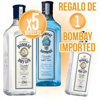 5 BOT BOMBAY IMPORTED O SAPPHIRE + REGAO DE 1 BOT GIN BOMBAY IMPORTED