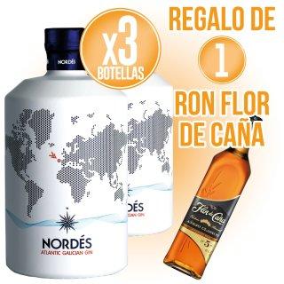 3 BOT GIN NORDES + REGAL DE 1 BOT FLOR DE CAÑA