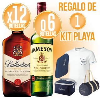 18 BOT WHISKY BALLANTINES O JAMESON + REGAL DE 1 KIT PLATJA