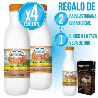4 CAIXES ASTURIANA 1,5LT GRAND CREME (6U) + 2 DE REGAL + 1 C XOCOLATA A LA TASSA VEGA ORO BRIK 1LT