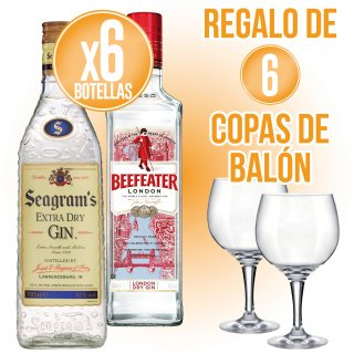 6 BOTELLES BEEFEATER O SEAGRAMS + REGAL DE 6 COPES