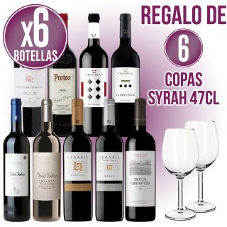 6 BOT VI VARIAT + REGAL DE 6 COPES SYRAH 47CL