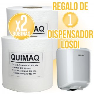 2 BOBINES ASSECAMANS QUIMAQ + REGAL DE 1 DISPENSADOR LOSDI
