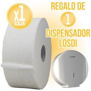 1 CAIXA PAPER HIGIÈNIC QUIMAQ + REGAL DE 1 DISPENSADOR LOSDI