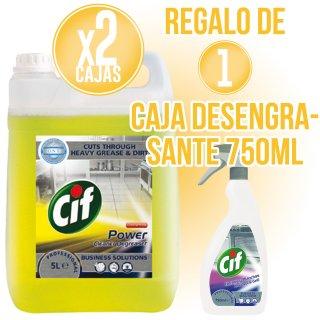 2 GARRAFES CIF DETERGENT 5LT + REGAL DE 1 CAIXA DESENGREIXANT 750ML (6 U)