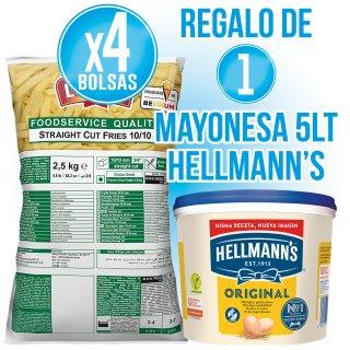 1 CAJA PATATA 10X10 + REGALO DE 1 CUBO MAYONESA HELLMANS 5 LT