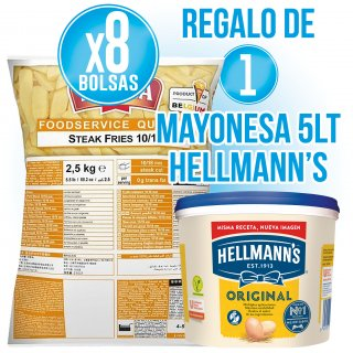 2 CAJAS PATATAS STEAK + 1 BOTE MAYONESA HELLMANS 5 LT