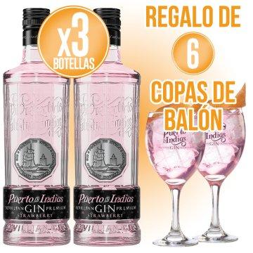 3 BOT GIN PUERTO DE INDIAS + REGALO DE 6 COPAS BALON