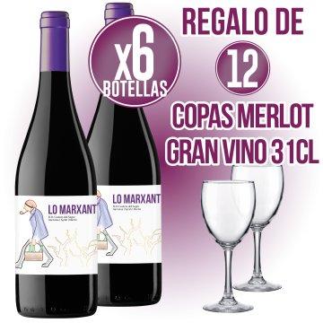 6 BOT LO MARXANT NEGRE 70CL + REGAL DE 6 COPES DE VI