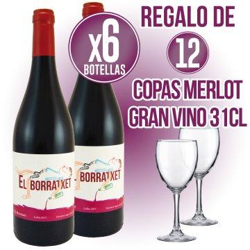 6 BOT EL BORRATXET NEGRE + REGAL DE 12 COPES VI GRAN MERLOT