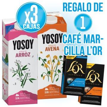 3 CAIXES YOSOY AVENA O SOJA + REGAL DE 1 CAFE MARCILLA L'OR 10 CAPSULES