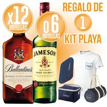 18 BOT WHISKY BALLANTINES O JAMESON + REGAL DE 1 KIT PLATJA