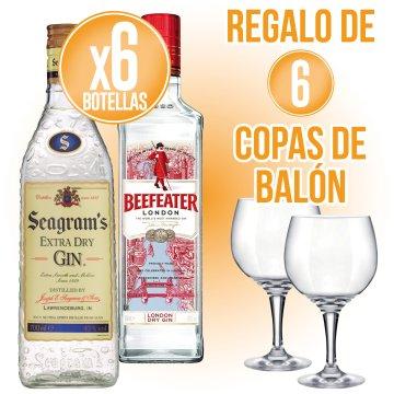 6 BOTELLES BEEFEATER O SEAGRAMS + REGAL DE 6 COPES