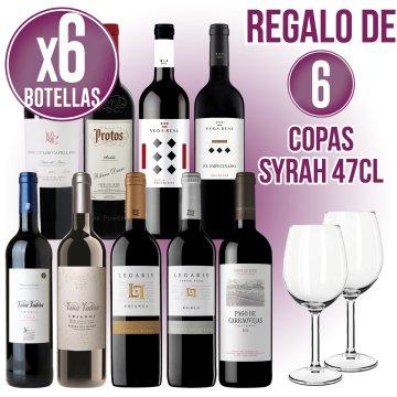 6 BOT VI VARIAT + REGAL DE 6 COPES SYRAH 47CL