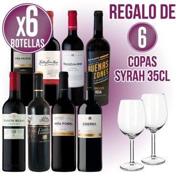 1 CAIXA VI A ESCOLLIR + REGAL DE 6 COPES VI SYRAH 35CL