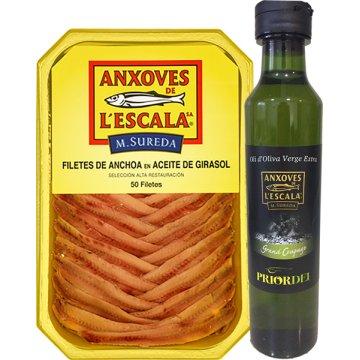 Anchoas De L'escala Tarrina 50 Filetes + Regalo Botella De Aceite