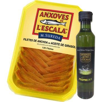Anchoas De L'escala Tarrina 120 Filetes + Regalo Botella De Aceite
