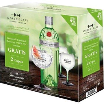 Gin Tanqueray Ten 70cl 1bot+2 Copas Promocaja